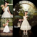Красивая Хиты 2014 Affortable v-образным вырезом крышка втулки прекрасный старинные кружева чай короткое свадебное платье HWE6