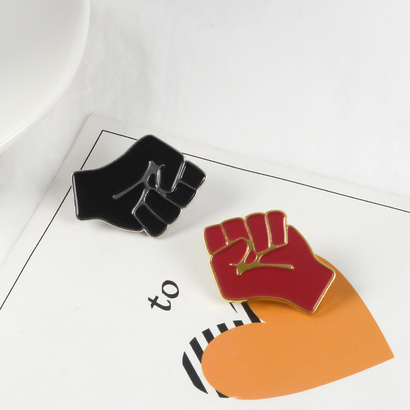 Raised Fist of Solidarity Enamel pin Red Black brooch Bag Hat Clothes Lapel Pin Badge Black Lives Matter Jewelry Gift 6
