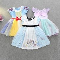 Princess Snow Wihte Pattern Dress Children S Day Fairy Tutu Mini Dress Kids Fancy Party Dress