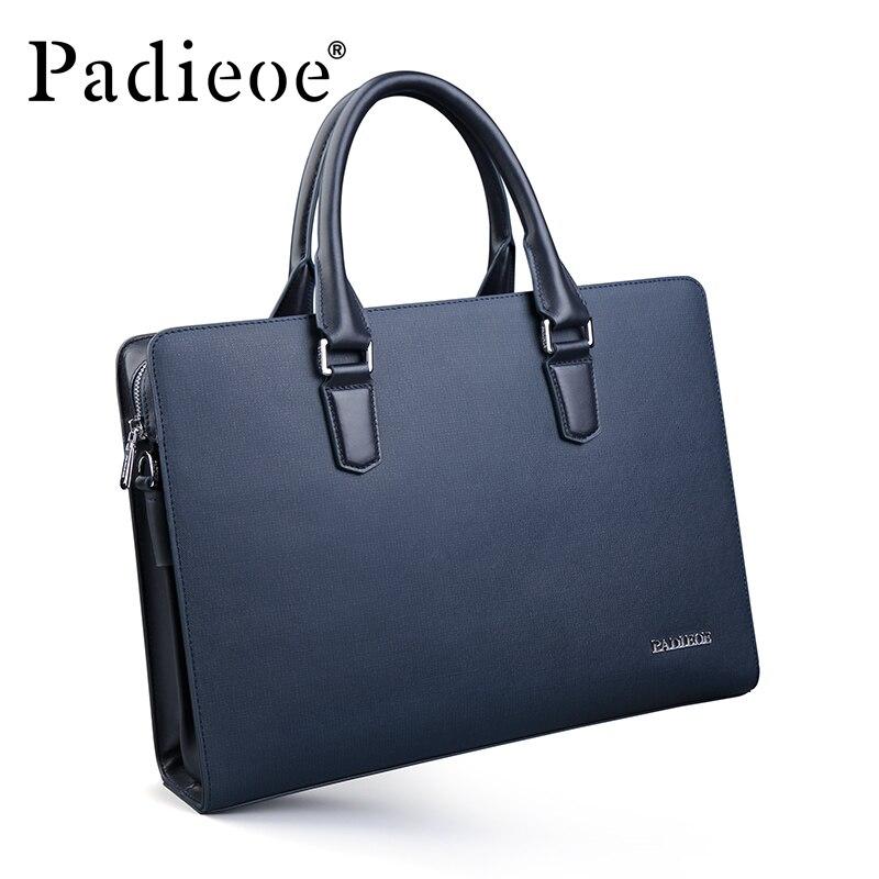 Padieoe Новое поступление Для мужчин Классические Разделение кожа Портфели Бизнес Высококачественная сумка торба для 14 дюймового ноутбука для мужчин NB161143 1 - 3