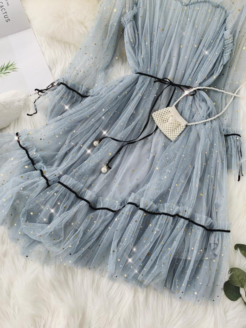 HISUMA spring autumn new women Star sequins gauze flare sleeve lace-up Princess dress female elegant o-neck mesh puff dresses 60