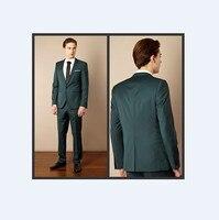 Center Vent Groomsmen Notch Lapel Groom Tuxedos Dark Green Mens Suits Wedding Best Man (Jacket+Pants+Tie+Hankerchief) B777