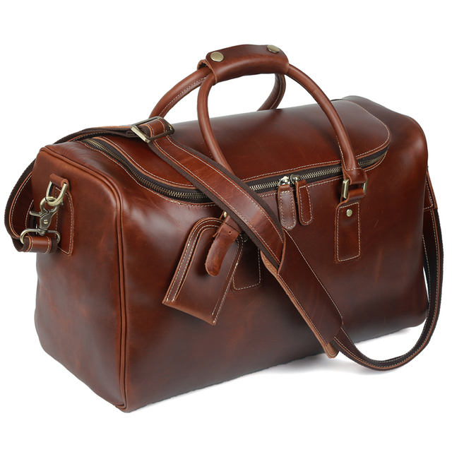 Tiding Leather Duffle Bag For Men Women Travel Luggage