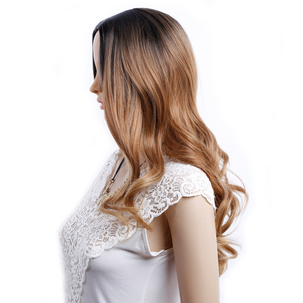Amir Long Ombre Brown Ash Blonde High Density Temperature Synthetic Wig For White Women Glueless Wavy Cosplay Hair Wig ...