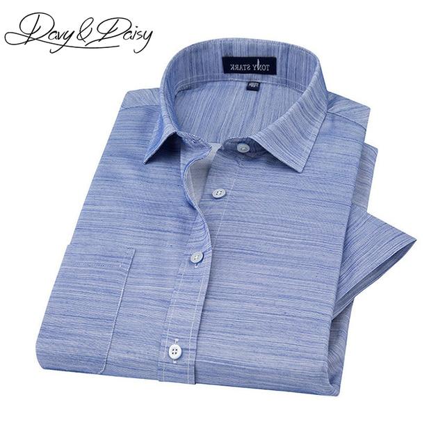 229fd6fce Davydaisy جديد وصول الصيف قمصان رجالية الكتان الراحة الصلبة منقوشة قصيرة الأكمام  قميص الرجال عارضة ماركة
