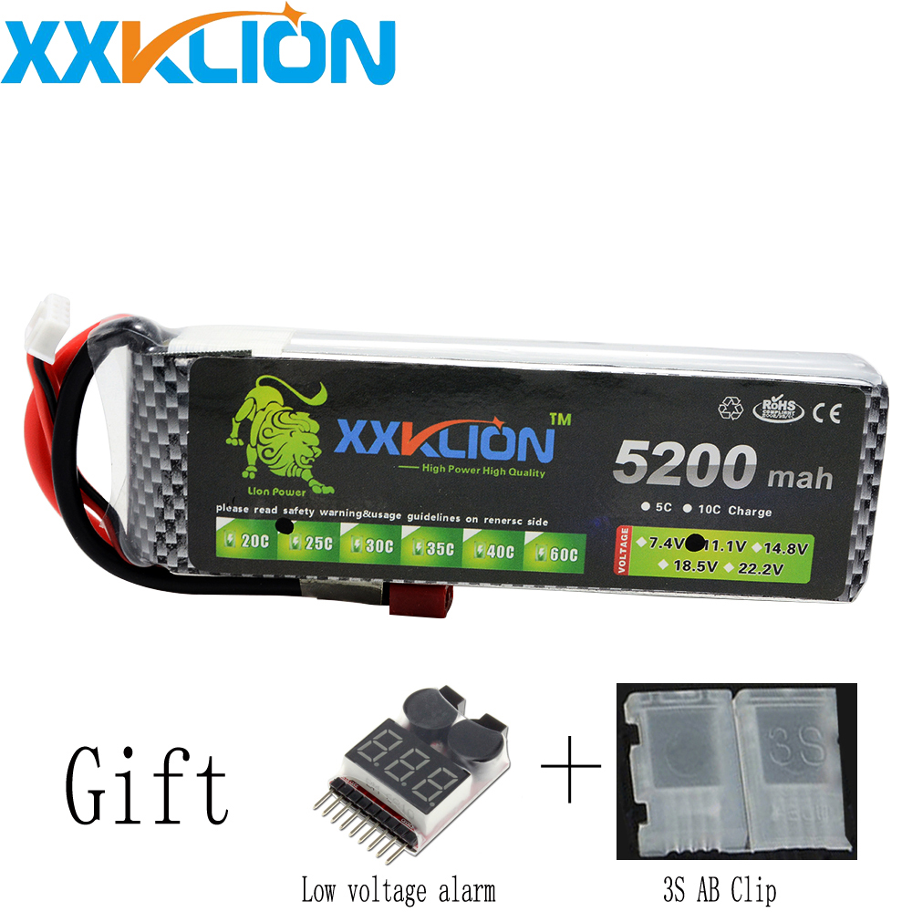 XXKLION 3S drone Lipo battery pack 11.1v 5200mAh 25C For helicopter rc car rc boat quadcopter Li-Polymer battery Free Shipping wild scorpion rc 18 5v 5500mah 35c li polymer lipo battery helicopter free shipping