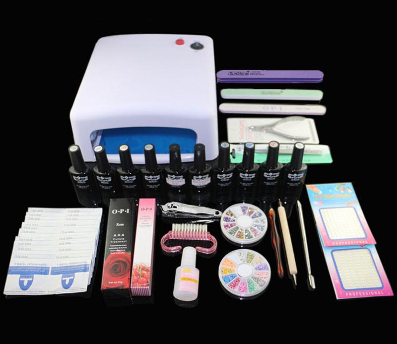 EM-121FREE SHIPPING polish kit ,uv nail polish set with lamp ,uv lamp kit ,uv nail kit ,soak off uv polish