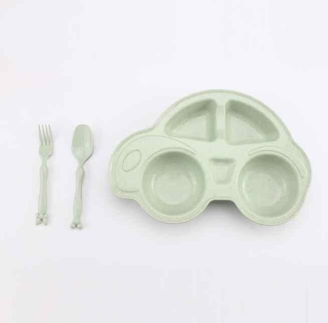 3 Pcs Mobil Bentuk Bayi Makan Piring Makan Anak Makan Set Bahan Jerami Gandum Mangkuk Peralatan Makan Set Piring Buah Snack