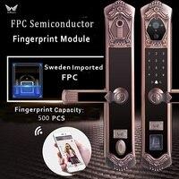 Видео wi fi отпечаток пальца Замок, лучшая Удаленная камера Дверной фиксатор умный код доступа отпечатков пальцев Дверной замок