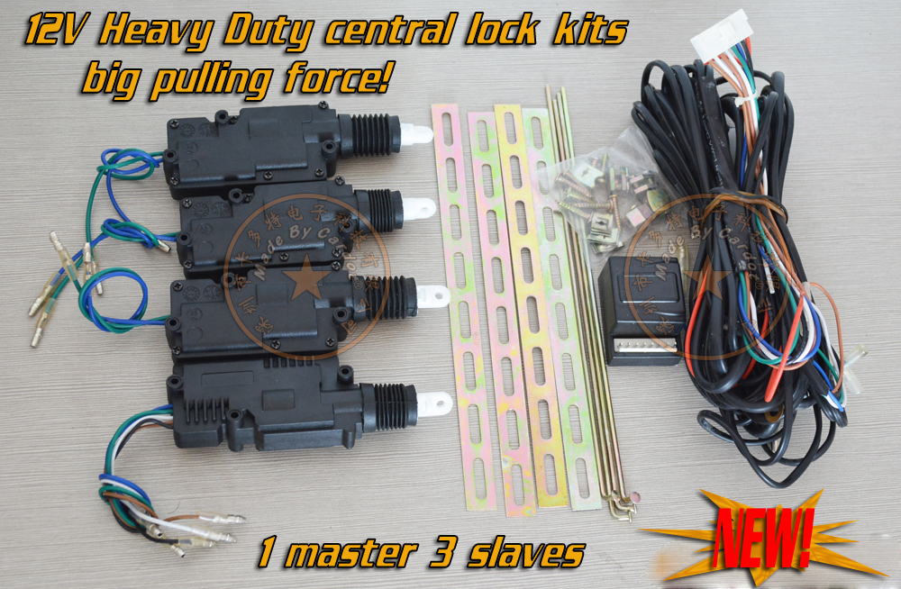 1 mater 3 slaves central door lock kits big pulling force 12V actuator 360 degrees rotation motor head working with car alarm-in Burglar Alarm from ... & 1 mater 3 slaves central door lock kits big pulling force 12V ...