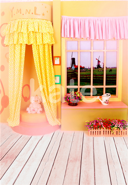 Newborn Dress Background Wood Floor Toy Photography Backdrops Baby Pink Curtain Yellow Wall Studio Photo цена 2016