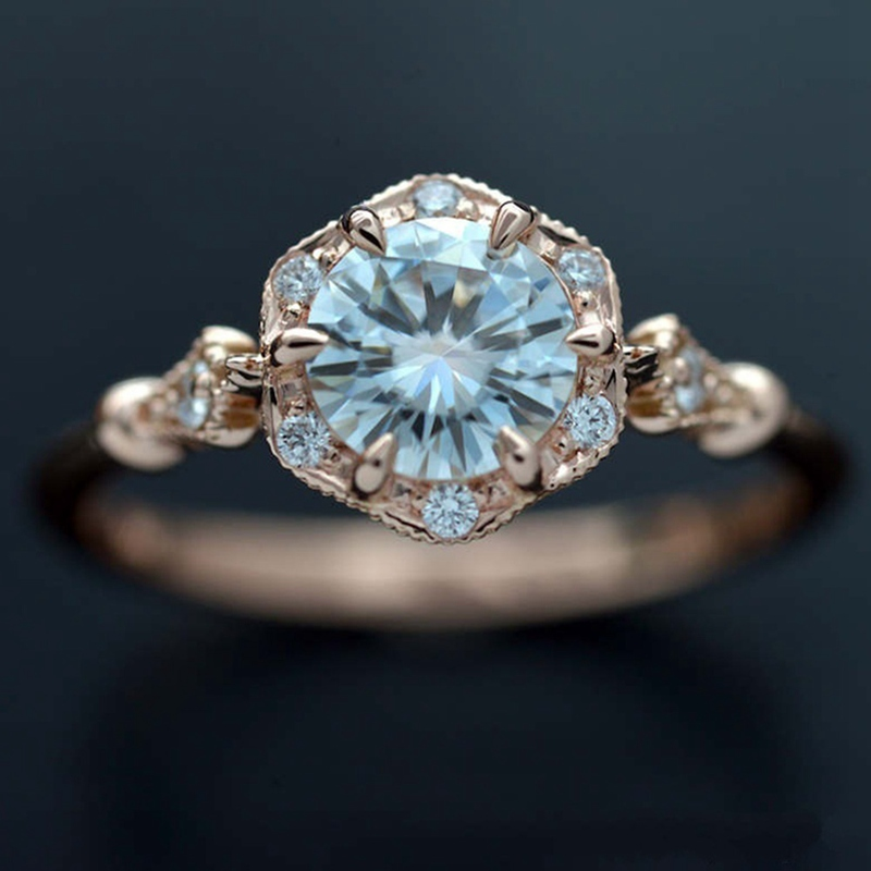 Gorgeous Rose Gold Plated Jewelry Round White Sapphire Proposal Ring Size 6-10