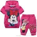 2015 bebé ropa Trajes Girls Minnie Mouse ropa del gril de Dibujos Animados de Moda 100% algodón t-shirts + pants 2 unids Niños Sistema de la ropa
