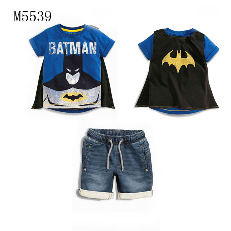 SAMGAMI BABY 2017 Boys Batman Clothing Cape Cowboy Suit Kid Apparel Boys Summer Clothing Set T-shirt+ Short Denim Pants