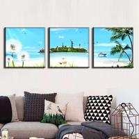3 Pcs/Set Modern Island Seascape Paintings Unframed Canvas Painting Artist Canvas Prints Wall Art Picture Top Home Decoration