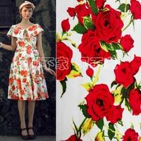 f53b271d7a 1 Meter Vintage Rose Fabric Cotton Satin Fabric DIY Retro Flower Printing  Fabric For Sewing. 1 metros Vintage Aumentou Tecido De Algodão ...
