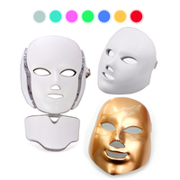 7 Colors LED Photon Facial Mask With Neck Therapy Skin Rejuvenation Face Lifting Anti Acne Wrinkle Removal Massage Beauty Device