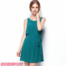 SXHIKEFOOT!!!   Slim Pure Color a-line Sling Dress Women Sexy Chiffon Sleeveless Dress sexy plunging neckline sleeveless open back a line chiffon dress for women
