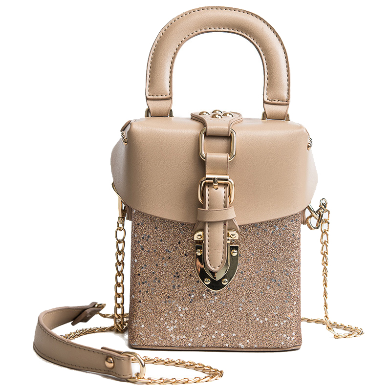 Box Phone bag 2018 Fashion Women Handbags High-quality PU Leather Women bag Stitching Sequins Lock Shoulder bag Messenger bag