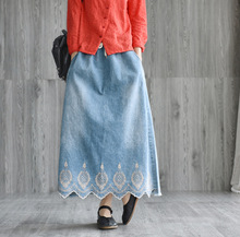 2019 New Spring Summer Woman Vintage Denim Long Skirt Embroidered Loose Fringed Mid-calf Maxi Female Oversized Jeans