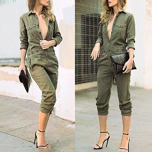 Women Fashion Long Sleeve Lapel Casual Long Jumpsuit Pants Playsuit Bodysuit