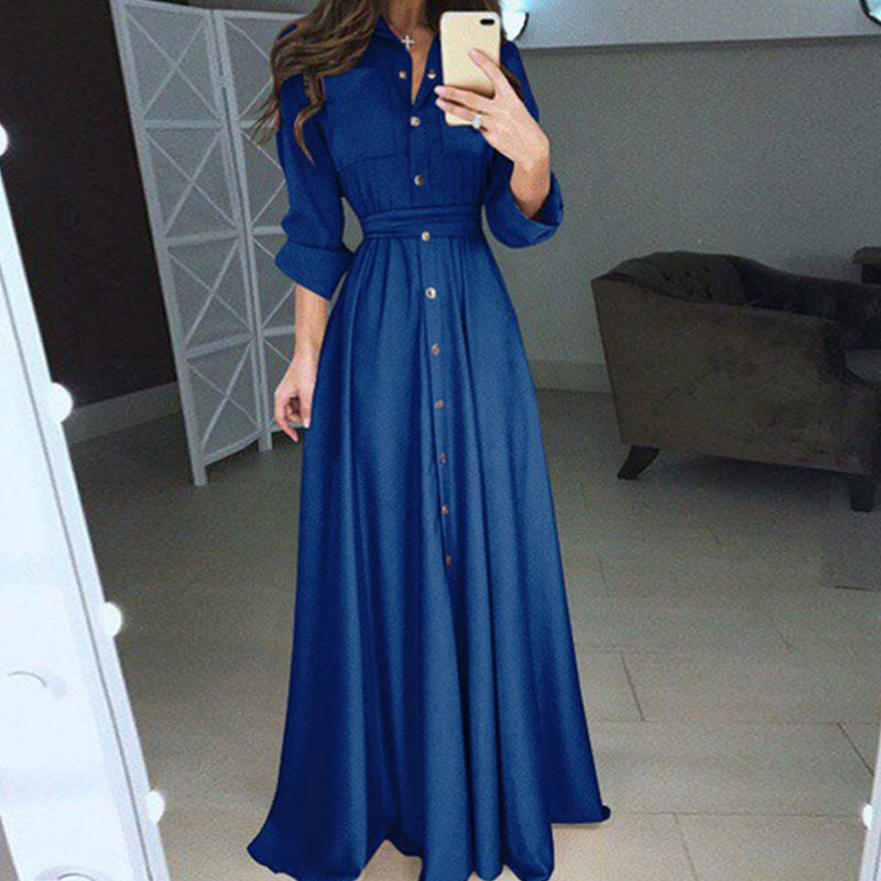 Holiday Chiffion Maxi Dress Women Summer Shirt Style Long Sleeve Casual Loose OL  Dress Clothing Plus Size S-3XL