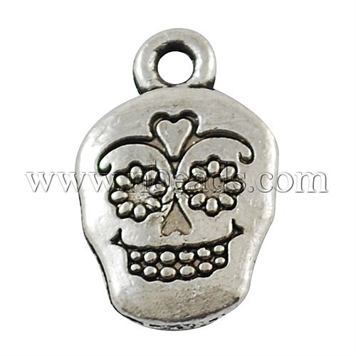 Tibetan Style Pendants,  Lead Free & Cadmium Free,  Antique Silver,  18x12x3mm,  Hole: 2mm