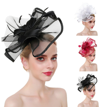 цена на Women's Fashion Hat Headband Feather Mesh Net Hairband Headwear with Hair Clip Hairband Wedding Party Hat dropshipping