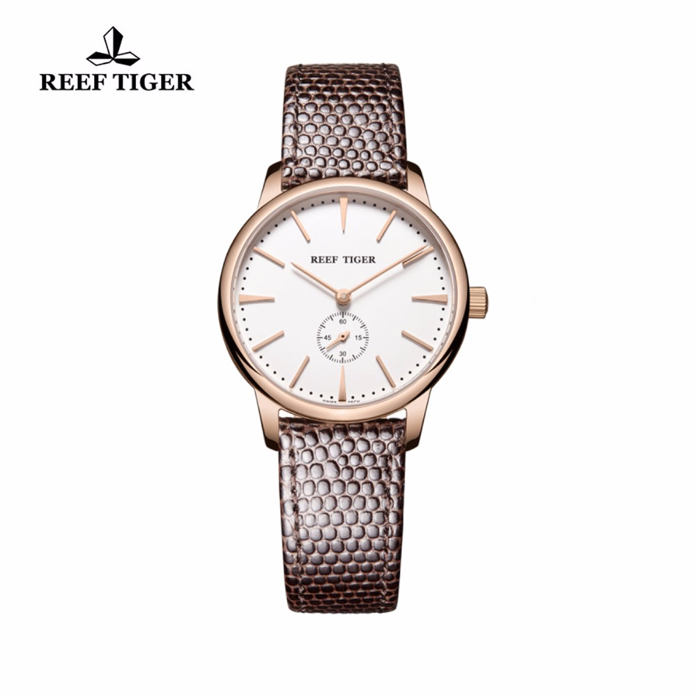 Reef Tiger/RT Rose Gold Ultra Thin Quartz Watches For Men Rose Gold Watches with Stingray Leather Strap Watch RGA820 цены