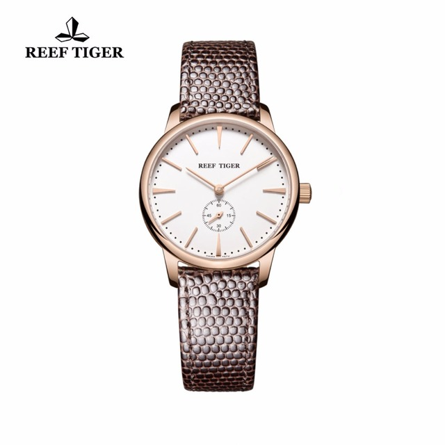 Reef Tiger/RT Rose Gold Ultra Thin Quartz Watches For Men Rose Gold Watches with Stingray Leather Strap Watch RGA820