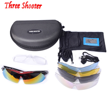 THREE-SHOOTER Sports Men Bicycle Sunglasses Riding Protection Goggles Road Cycling Eyewear Mountain Bike Glasses 5 Lens ciclismo