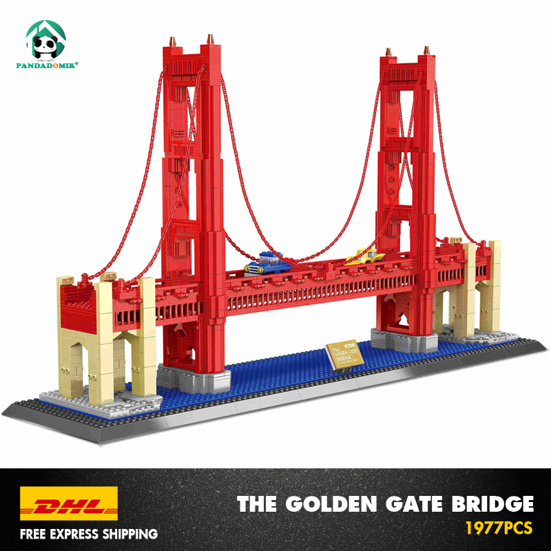 Free Express Shipping 1977pcs Large Golden Gate Bridge Construction Toys Architecture Model Building Blocks Toy Bricks Gift Kids golden gate bridge metal 3d jigsaw puzzles for kids stainless steel diy assembly model building architecture educational toys