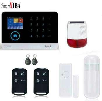 SmartYIBA APP Control Outdoor Solar Powered Siren Speaker Alarm Kits RFID Wireless WIFI GSM Alarmes Motion Sensor Door Alarm