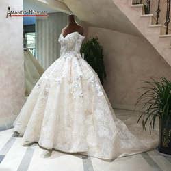 Новое поступление с открытыми плечами 3/4 рукава Аманда Novias бальное платье свадебное vestido de noiva 2019