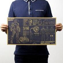 Железный человек дизайн рисунки ностальгическая оберточная бумага в винтажном стиле постер фильма журнал дома школы искусства украшения для кафе бара ретро-плакаты