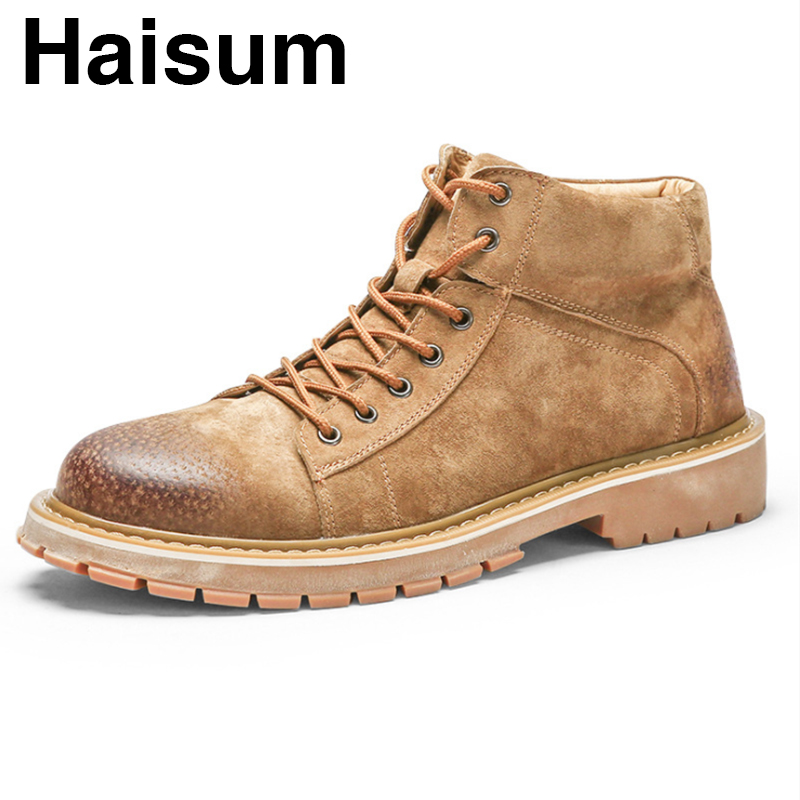 Leather pigskin winter men's boots plus velvet warm cotton shoes in the high to help desert boots H-19988
