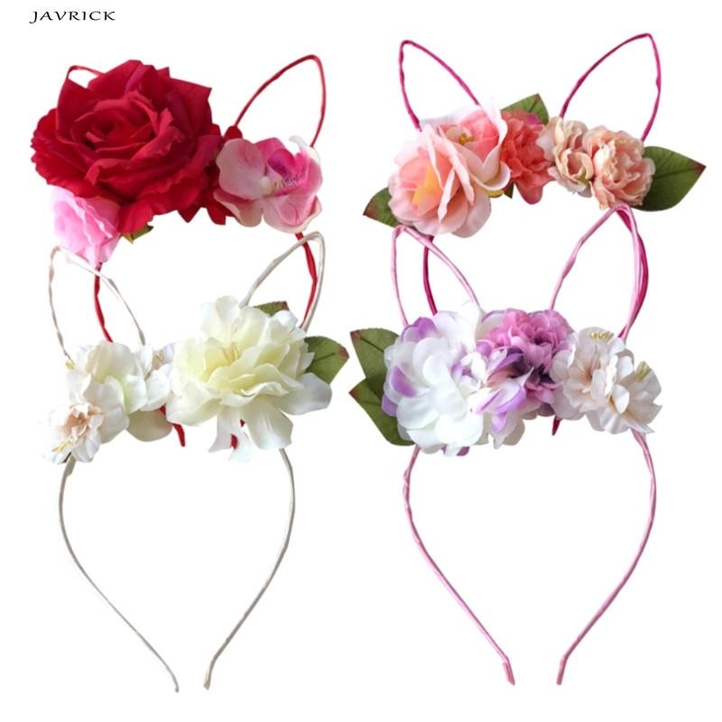 JAVRICK Hair Band Girls Women Rabbit Ears Fabric Headband Flower Decoration Women/children Floral Crown Hair Accessories
