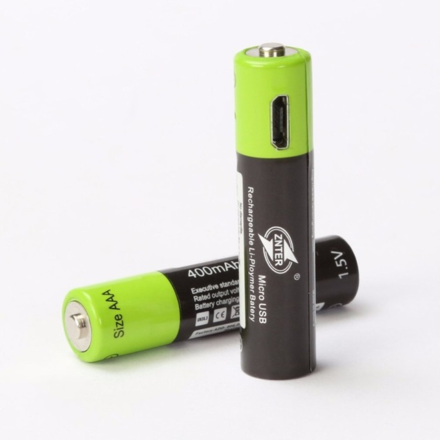 ZNTER 1PC AAA Rechargeable Lithium Battery 1.5V 400mAh with MICRO USB Charging Cable For RC Camera Drone 2