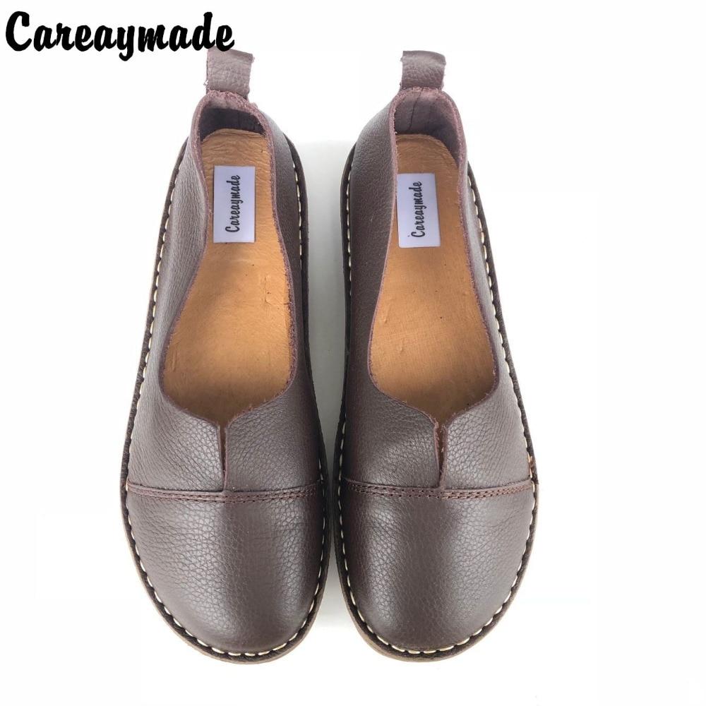 CareaymadeSpring,Genuine Leather Shoes,Pure Handmade Flat Shoes,Women the Retro Art Mori Girl Shoes, Women Fashion Shoes,2 color genuine leather cover pure handmade card