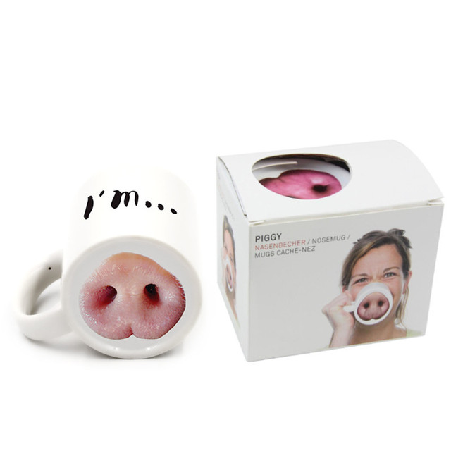 VILEAD Funny I am Pig Nose Ceramic Mug Novelty Porcelain Milk Mug Water Cup Coffee Mug with Handgrip Office Tea Cup Drinkware 2