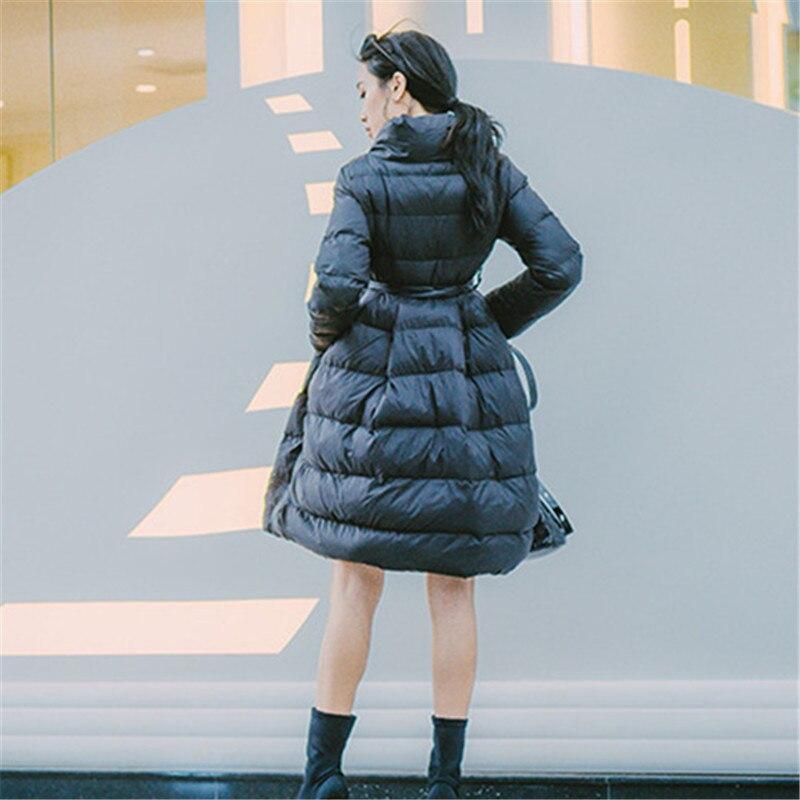 Col Mince white Manteaux Ceintures 76310 Nouvelle Femme A Korobov Coréennes Laçage ligne Montant Black Coats red Vestes Coats Poches Arrivée D'hiver Femmes Coats 2019 qxX0X6B