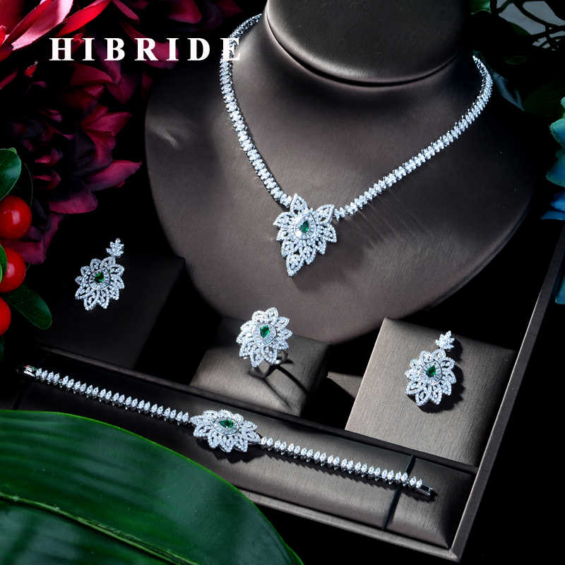 HIBRIDE Luxury Shinning Cubic Zircon 4 piece Set Jewelry for Women Hot Selling Necklace&bracelet&earrings Jewelry Sets N-100