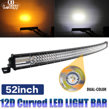 CO LIGHT 12D 52inch Triple Rows Combo Beam Led Bar 12V 24V for Auto Truck Offroad 4x4 Boat Car Led Light Bar Amber/Yellow White amber yellow white high power 4x4 car offroad 17 inch 18 inch 252w led light bar work light 12v 24v 24 months warranty