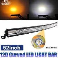 CO LIGHT 12D 52inch Triple Rows Combo Beam Led Bar 12V 24V for Auto Truck Offroad 4x4 Boat Car Led Light Bar Amber/Yellow White