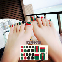 22tips/sheet Toe Nail Stickers Black White Feet Tips Adhesive Full Cover Waterproof Foot Decals Manicure for Women Drop Shipping