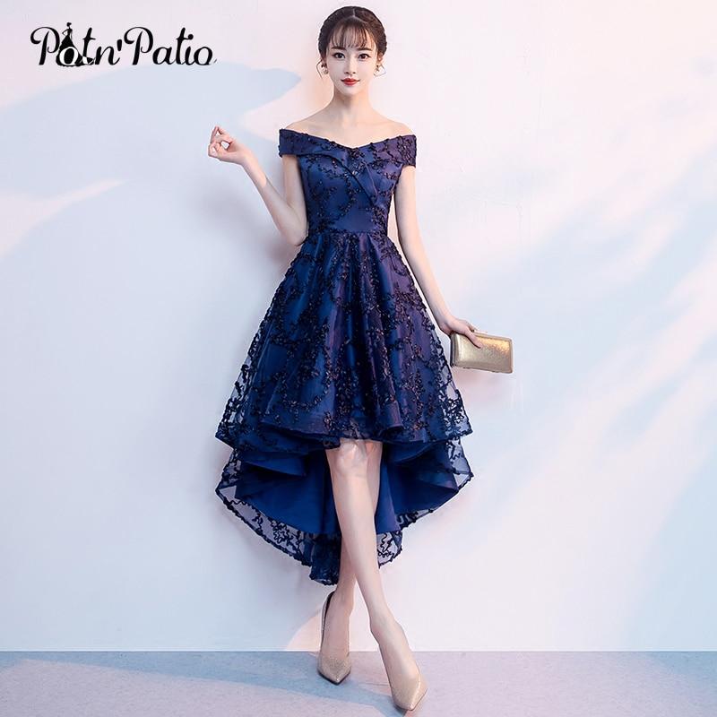 Elegant Boat Neck Off The Shoulder Navy Blue Lace High Low Bridesmaid Dresses Plus Size 2018 New Wedding Party Dresses