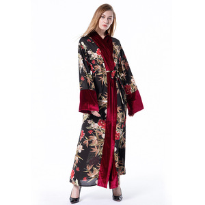 Autumn Winter Women Muslim Dress Plus Size Cardigan Patchwork Velour Long Abaya Dress Saudi Arabia Abaya Busana muslim wanita