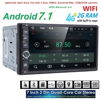 2 GB RAM Quad Core Car Electronic autoradio 2din android 7.1 car media player stereo GPS Navigation WIFI+Bluetooth+Radio+4G DAB+