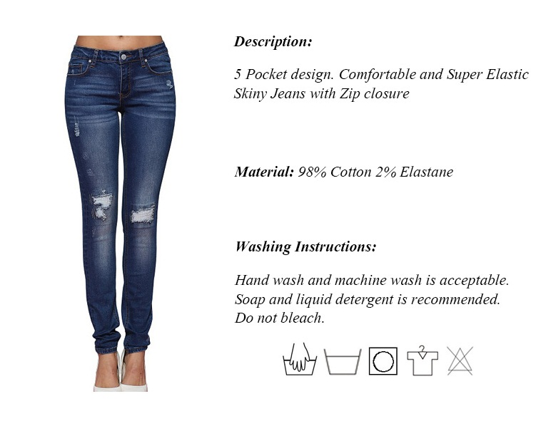 Alice & Elmer Hole Ripped Jeans Women Jeans Woman Jeans For Girls Stretch Mid Waist Skinny Jeans Female Pants 5