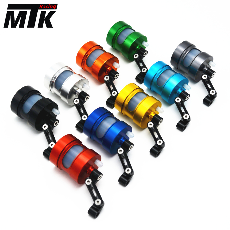 MTKRACING Motorcycle Motorbike CNC Brake Clutch Pump Oil Fluid Tank Reservoir Cup with Bracket Holder Universal